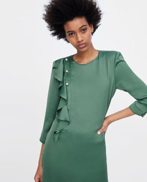 DRESS WITH RUFFLES AND PEARL BEADS-DRESSES-WOMAN-SALE | ZARA United States