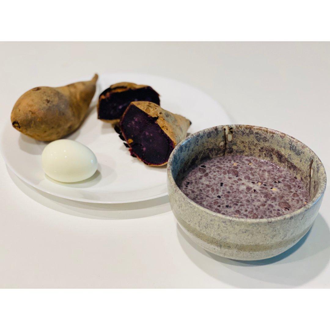 【早餐摊】烤紫薯 + 牛奶谷物鸡蛋