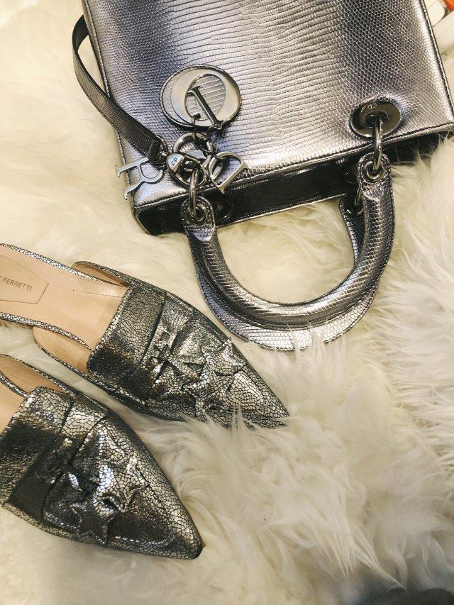 金属色鞋➕包