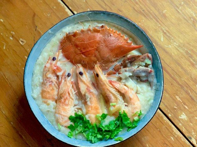 一人食美食|低卡健身餐|海鲜粥+杏...