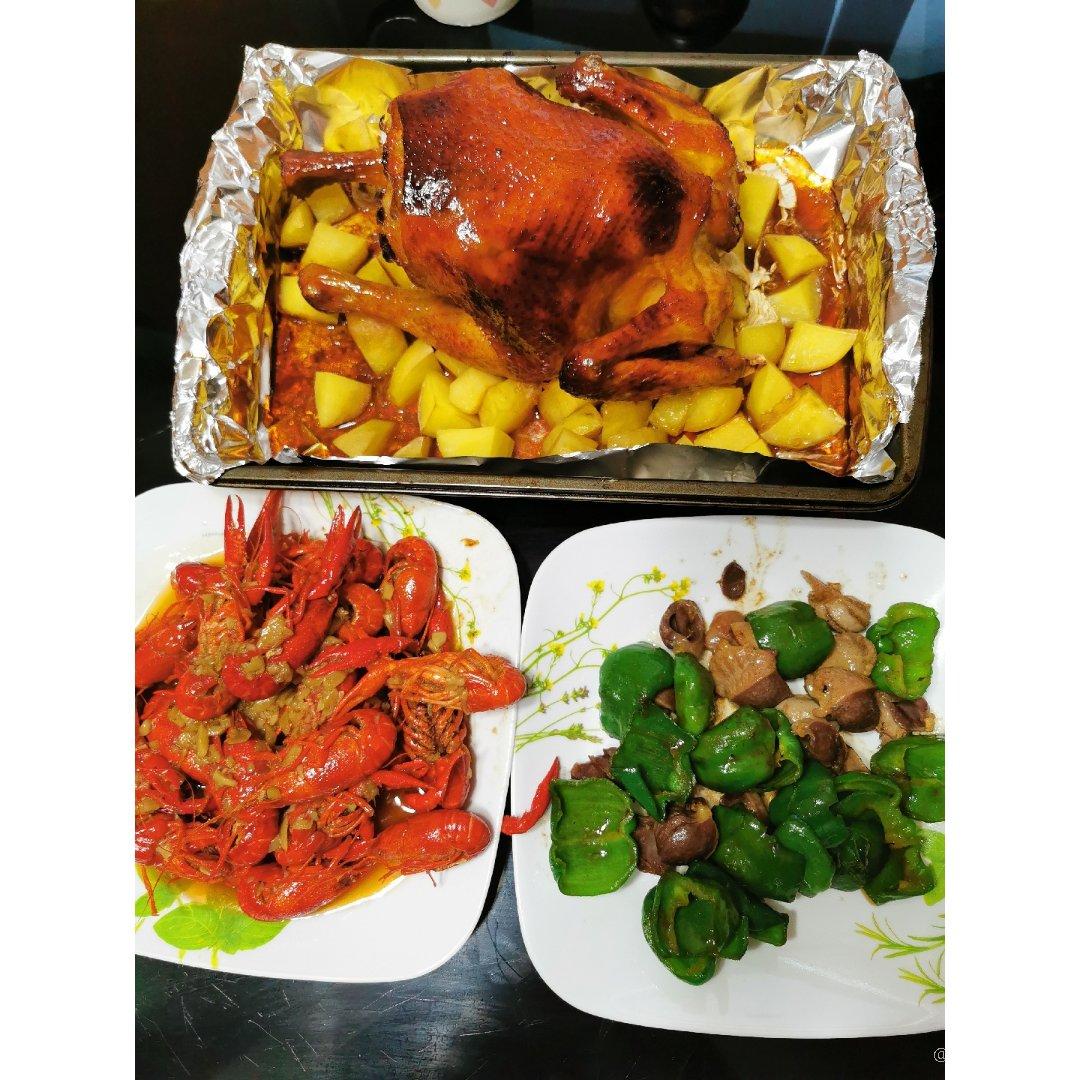 感恩节晚餐~烤走地鸡...