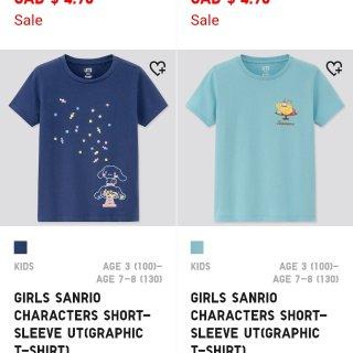 优衣库折扣区儿童T恤$4.90...