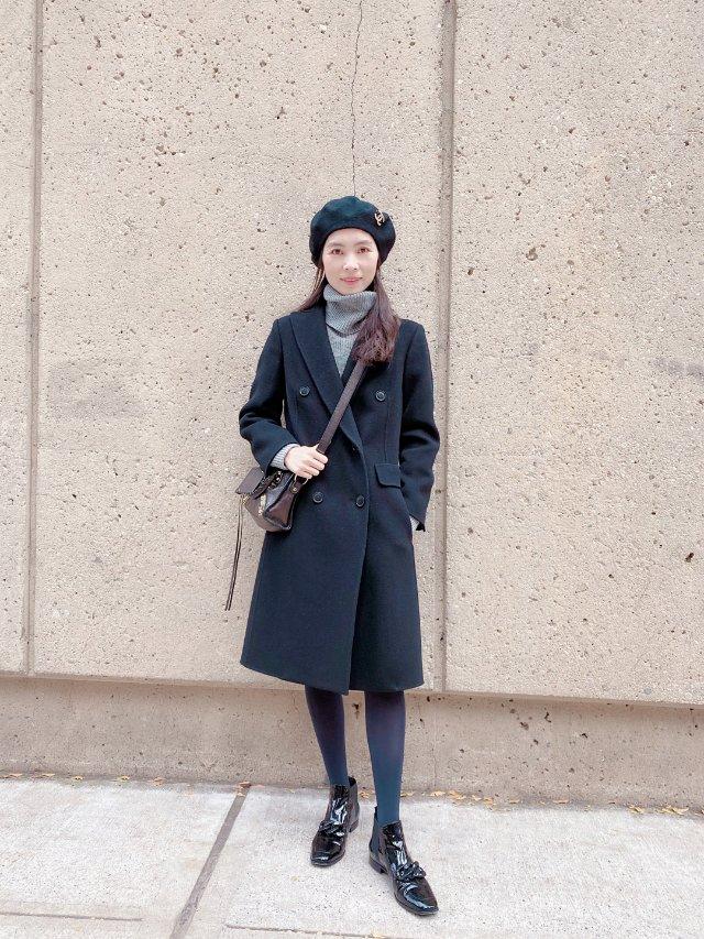 Angel穿搭/黑色双排扣大衣冬天必备!