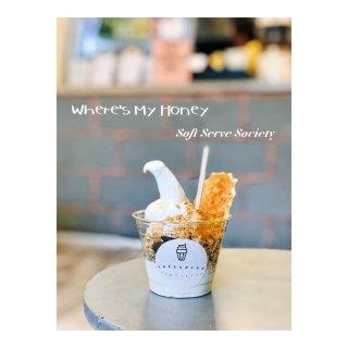 香草冰淇淋,蜂巢,华夫饼,燕麦