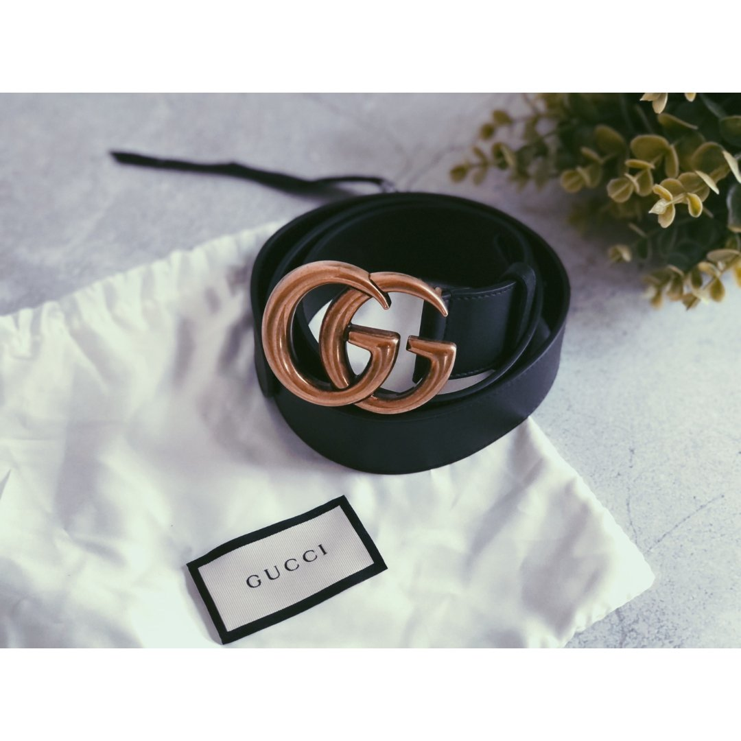 Men's Slim Black Leather Belt With Gold Double G Buckle | GUCCI® US