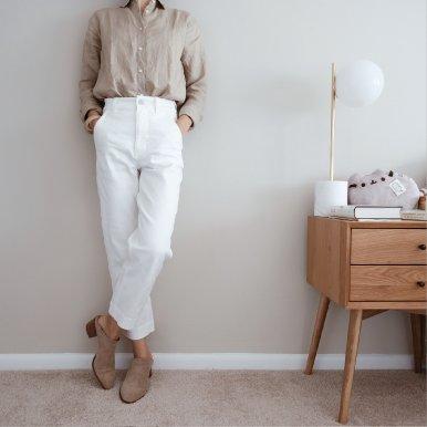 藏蓝色灯芯绒直筒裤