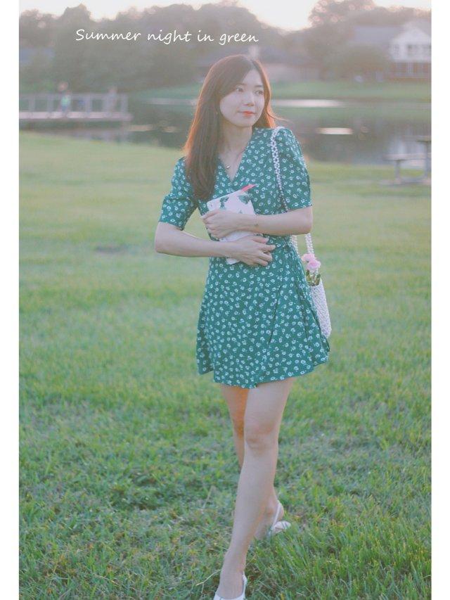 穿搭   熟透了的牛油果绿茶歇裙🥑🥑