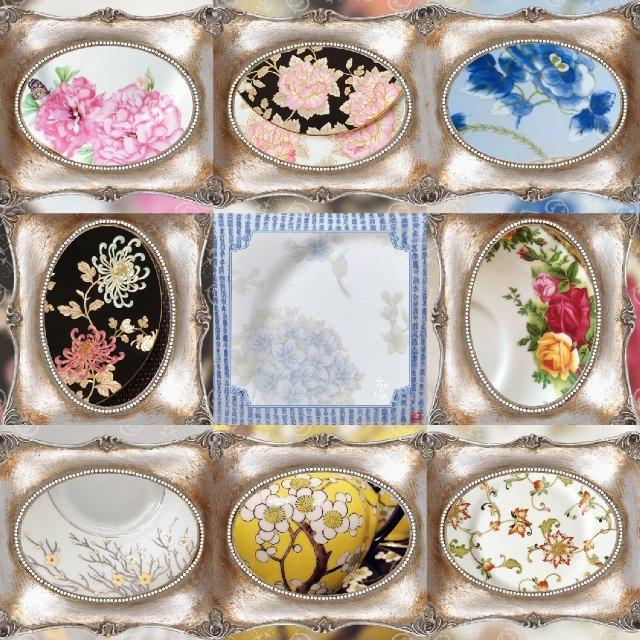 餐茶具花朵九宫格