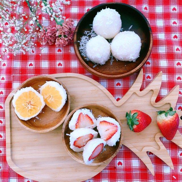 下午茶🍵:水果大福🍓🍊