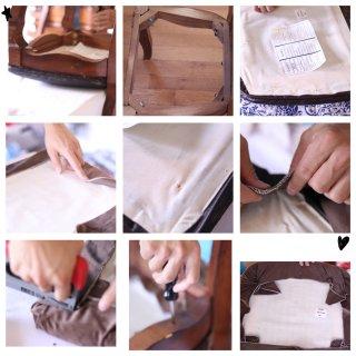 ❤️DIY餐椅大改造/破皮垫到欧式丝绒垫...