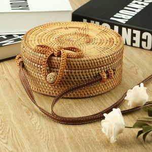 Round Circle Women Bag Star Pattern Bowknot Rattan Straw Handwoven Crossbody Bag Bohemia Style Lady Beach Tote Bag - Walmart.com