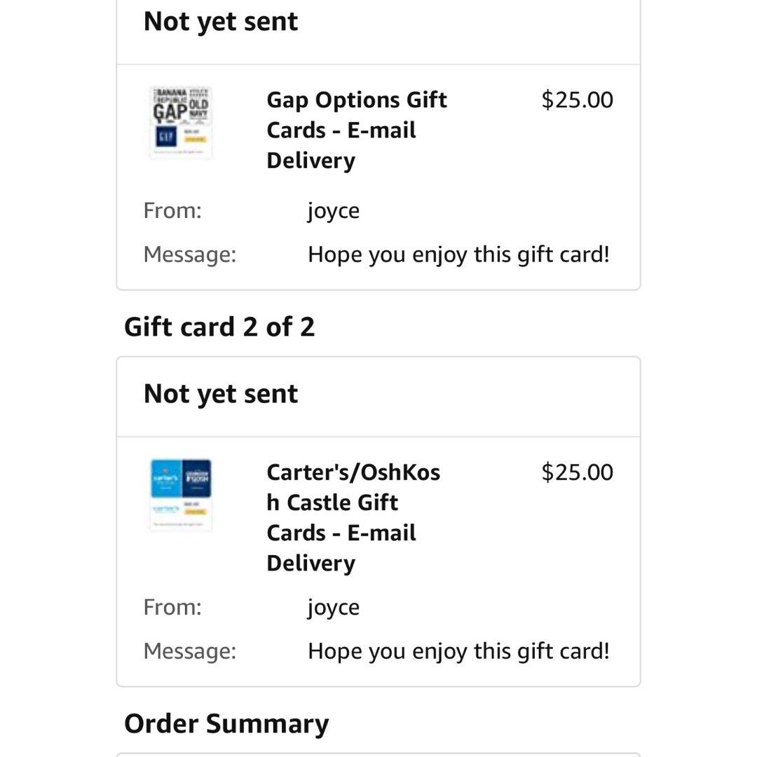 amazon买了两张礼卡