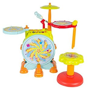 Amazon.com: Best Choice Products Kids Electronic Drum Set with Adjustable Sing-Along Microphone & Stool: Toys & Games