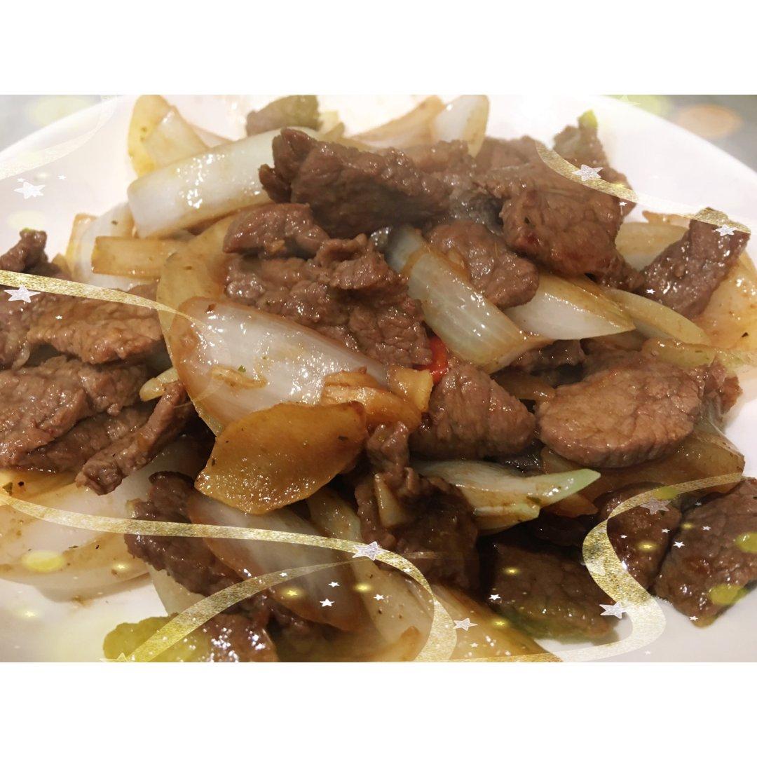 【黑五3-1】孜然洋葱炒牛肉。