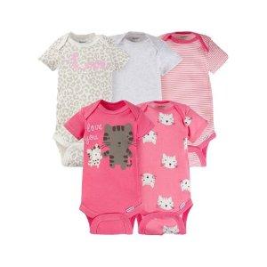 Gerber Baby Girls' 5 Pack Variety Bodysuits - Walmart.com