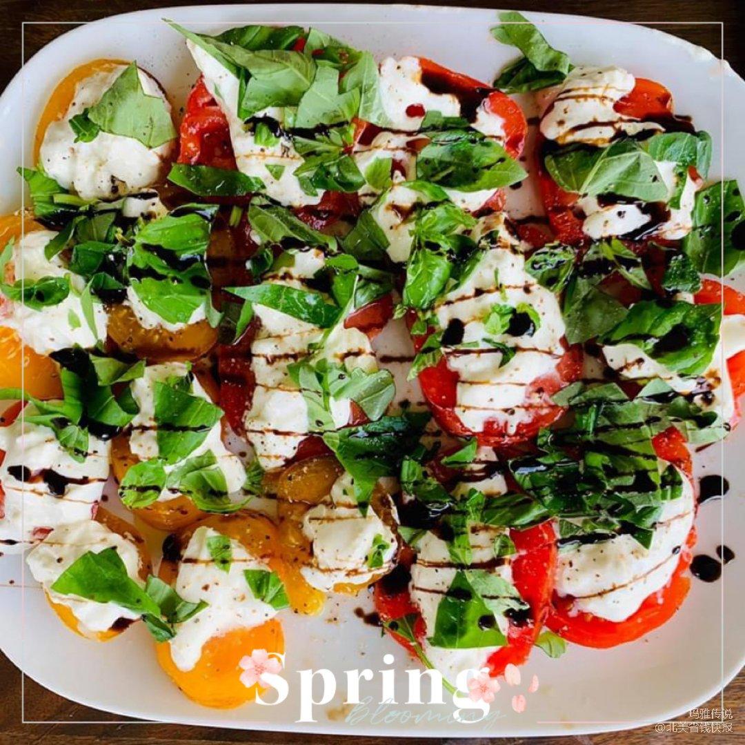 今日晚餐分享|西红柿罗勒叶色拉+香...