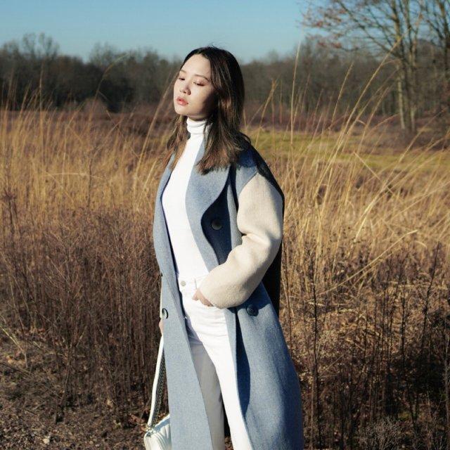 冬日穿搭 / 蓝白灰大衣