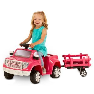 $39Kid Trax 6V Heavy Hauling Truck with Trailer Powered Ride On, Pink