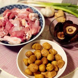 鸡腿肉,香菇,板栗