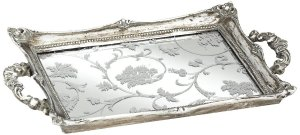 "Amazon.com: Floral Pattern 13"" Wide Silver Mirrored Decorative Tray: Home & Kitchen"