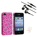 Heart Bling Case for iPhone 4/4S, 3.5mm In-Ear Stereo Headset
