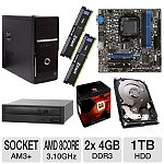 350AMD Desktop Barebones Kit: FX-8120 8-Core AM3+ CPU, MSI 760GM-E51 Motherboard                              $361                                       after $75 rebates