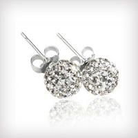 $16for Swarovski Crystal Ball Earrings Set in .925 Sterling Silver