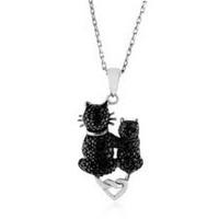 $39.95Sterling Silver Black Diamond Cats Pendant with 18