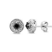 $241/3 Carat Black and White Diamond Earrings in Sterling Silver