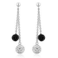 $27.95Sterling Silver Black and White Crystal Glitter Ball Dangle Earrings