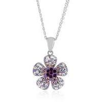 $18.38Sterling Silver Crystal Purple Flower Pendant with 18