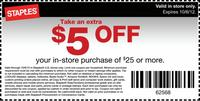 graphic regarding Staples Printable Coupon named Staples Printable Coupon $5 OFF $25 - Dealmoon