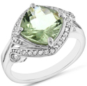 4.5-tcw Green Amethyst & Sapphire Ring