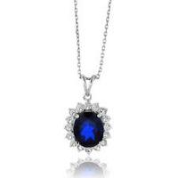 $49.997.5 Carat TW Blue Spinel and Sapphire Oval Pendant in Sterling Silver with Chain