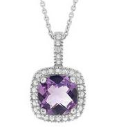 Amethyst Pendant Necklace in Sterling Silver
