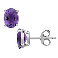 Purple Amethyst Earrings 3.0 Carat in Sterling Silver
