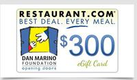 $40For a $300 Restaurant.com e-Gift Card
