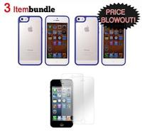 $9.99 Apple iPhone 5 Essential Bundle (2 Blue&Frost Hard Case & 2-Pack Screen Protector)