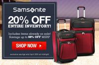 Extra 20% OffSamsonite @ LuggageOnline