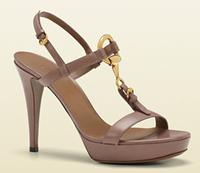 Gucci soft icon pink tan leather high-heel sandal