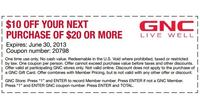 graphic about Gnc Printable Coupons 10 Off 50 named GNC Printable Coupon @GNC Excess $10 off $20 - Dealmoon