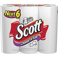 Scott Choose-A-Size Paper Towels, 1-Ply, 6 Rolls/Pack