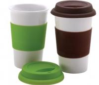 $14.994 Eco Friendly Ceramic Mugs with Silicone Lids, Set of 2
