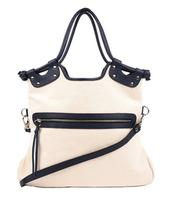Pietro Alessandro Canvas Handbag with Leather Trim