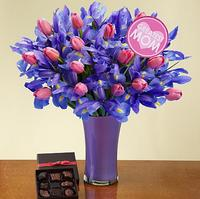 Dealmoon Exclusive! Deluxe Mom's Delight with Purple vase, Chocolates and Mom pick @ ProFlowers.com