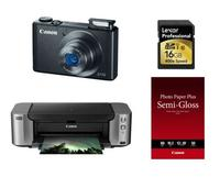 $185Canon PowerShot S110 Black Digital Camera + 16GB Card + Pro 100 Printer + Paper Kit