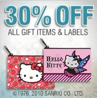 30% OffAll Hello Kitty products @ Checks In The Mail, Dealmoon Singels Day Exclusive