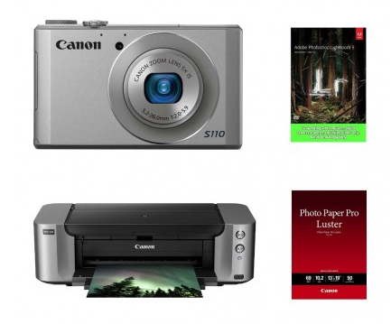 $175Canon PowerShot S110 Digital Camera (Silver) + PIXMA PRO-100 Printer + Adobe Lightroom 5 Bundle