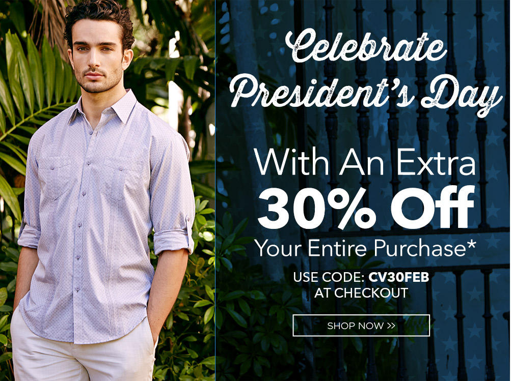 30% OffSitewide Cubavera Presidents' Day Sale