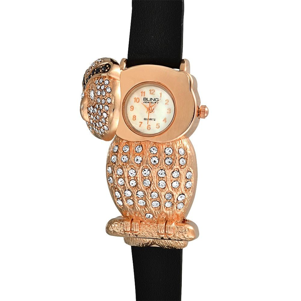 Women's Black Leather Rose Gold Plated Owl Watch
